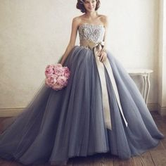 Blue Appliques Strapless Sash Ball Gown Tulle Prom Dresses 2017