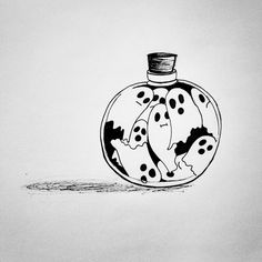 """Spirits inktober -Saving Spirits inktober - Disegni Happiness in a syringe I have a sunset in . - """"Planty ghost By Halloween Illustration, Halloween Drawings, Halloween Art, Illustration Art, Halloween Things To Draw, Halloween Witches, Halloween 2019, Halloween Makeup, Happy Halloween"""