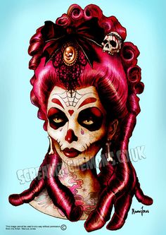 Day of the Dead 'Pink Death' Art Print by by screamingdemons