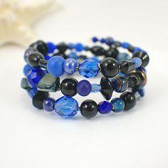 Capstone memory wire bracelet blue black midnight one size fits all. $28.50, via Etsy.