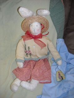 """26""""   bunny rabbit doll for sale in my store The Chic N Prim cottage ebay have to put in the """"the """" in search engine $13FREE Shipping when you spend $30 or more!decoration ADORABLE garden Easter girl decor hat flower"""