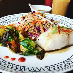 Pan Seared Miso Cod with Thai Inspired Quinoa Salad with Sriracha Roasted Brussels