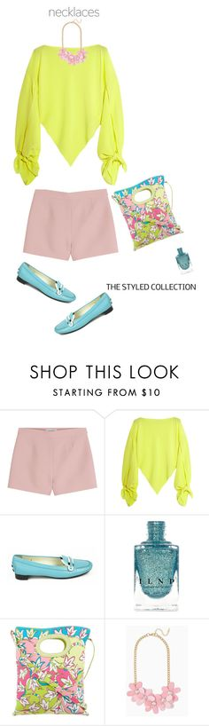 """""""Neon Yellow'"""" by dianefantasy ❤ liked on Polyvore featuring Valentino, Balenciaga, Tod's, Emilio Pucci, polyvorecommunity, polyvoreeditorial and statementnecklaces"""
