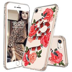 iPhone 8 Case, Fashion iPhone 7 Case, MOSNOVO Fashion Snake with Roses Pattern Clear Design Transparent Plastic Hard Back with TPU Bumper Protective Case Cover for Apple iPhone 7 / iPhone 8 inch) Cool Iphone 7 Cases, Iphone 7 Covers, Girl Phone Cases, Iphone Cases For Girls, Cute Phone Cases, Iphone 8 Plus, Iphone 10, Coque Iphone, Iphone Accessories