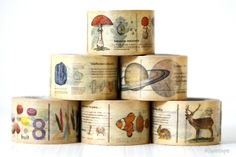 """Neat mt encyclopedia washi tape with few designs to choose from. Love the color combination.     approx 30mm = 1.2""""   length 10m = 33' long $8.00"""