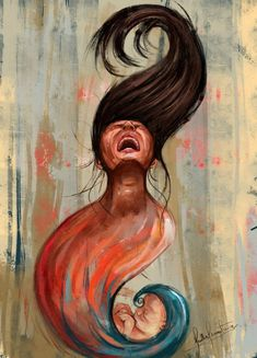 The most intense pain for the most beautiful thing, Me, Digital Painting, 2016 : Art Cool Art Drawings, Art Drawings Sketches, Painting Of Girl, Painting Art, Drawing Competition, Pregnancy Art, Poster Drawing, Indian Art Paintings, Deep Paintings