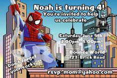 PRINTABLE. LEGO SPIDERMAN PERSONALIZED BIRTHDAY INVITATION. SIZE 4 INCHES TALL AND 6 INCHES WIDE..