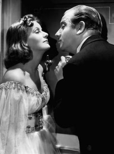 "Melvyn Douglas with Greta Garbo in ""Ninotchka"""