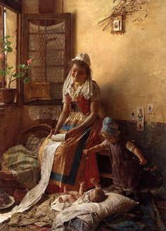View A mothers love by Gaetano Chierici on artnet. Browse upcoming and past auction lots by Gaetano Chierici. Old Paintings, Paintings I Love, Beautiful Paintings, Art And Illustration, Carl Spitzweg, Italian Painters, Fine Art, Mothers Love, Painting & Drawing