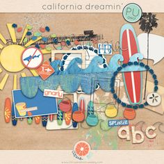 California Dreamin Digital scrapbook freebie surfboard sun waves