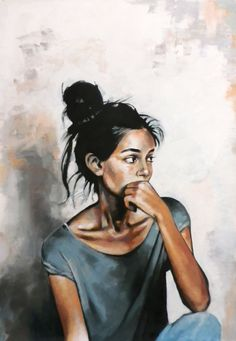 Nice girl looking at her boyfriend and wondering how to dump him by Thomas Saliot