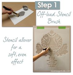Stencil How-to: Start by stenciling Corsini Damask stencil allover with a stencil brush and craft acrylic paint