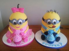 twins birthday party themes girl and boy 7 year olds Twin Birthday Cakes, Happy Birthday Cake Images, Happy Birthday Minions, Twin Birthday Parties, Half Birthday, Torta Minion, Minion Cakes, Girl Minion, Bithday Cake