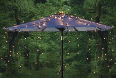 Set of 150 Clear Canopy Lights for Outdoor Patio Market Umbrella Ikea Canopy, Canopy Bedroom, Diy Canopy, Canopy Tent, Fabric Canopy, Canopy Cover, Patio Umbrella Lights, Outdoor Patio Umbrellas, Gardens