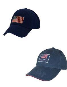 BeltOutlet.com - Dorfman Pacific Cotton Classic American Flag Baseball Caps (Pack of 2)