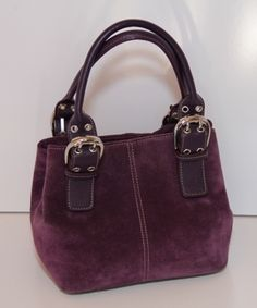 Tignanello - Purple Suede tote You can find this item and more on www.handbagconsignmentshop.com