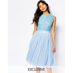 Maya Embellished Top Midi Dress with Tulle Skirt ($146) ❤ liked on Polyvore featuring dresses, cashmere blue, sequin cocktail dresses, tulle dress, fit and flare cocktail dress, blue tulle dress and beaded dress