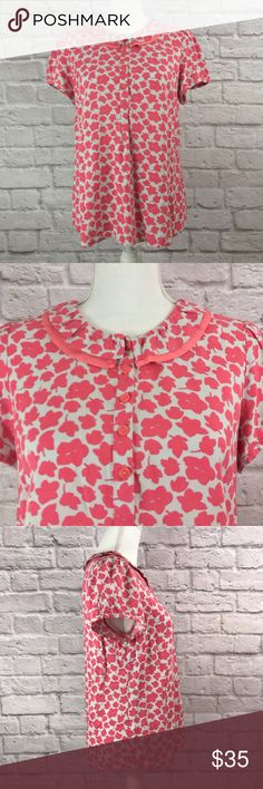 """Boden Leaf Print Ruffle Collar Short Sleeve Top Boden Women's Pink Leaf Print Ruffle Collar Short Sleeve Top. Gently pre-owned…in excellent condition. Item comes from smoke-free home.   Size: 8   Material: 100% Viscose   Measurements: Underarm to underarm – 19"""" Sleeves – 6.5"""" Total Length – 25"""" Boden Tops Blouses"""