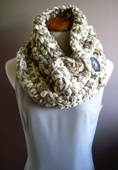 Super Chunky Bulky Button Crochet Cowl:  Shades of Taupe, Dusty Gray and Off White with Black Button, via Etsy