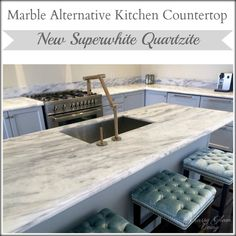 New Kitchen Update - Integrated Hood + Upper Cabinets — Classy Glam Living Marble Countertops, Kitchen Countertops, Kitchen Cabinetry, Soapstone Kitchen, Diy Custom Closet, Custom Closets, Kitchen Island Makeover, Island Kitchen, Kitchen Countertop Materials