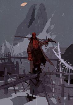 Take a look at this Hellboy illustration by Jakub Rebelka! http://conceptartworld.com/?p=35910