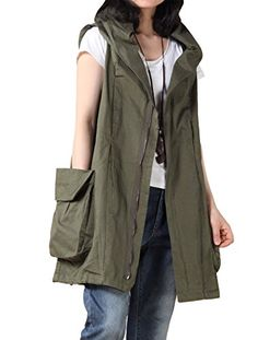Mordenmiss Womens Sleeveless Coat Big Pockets Waistcoat Travel Hoodie Vest XLarge Style 1Army Green *** Check out the image by visiting the link.