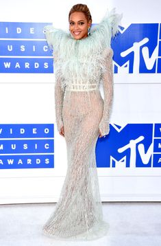 MTV VMAs 2016: Best Dressed Stars - Beyonce in a sequin sheer feather-wing dress