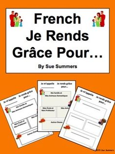 French Thanksgiving / L'Action de Grâce by Sue Summers - Je Rends Grâce Pour - 6 slightly different worksheets for students to illustrate or describe why they are thankful during the Thanksgiving holiday season. Learn Spanish Free, Learning Spanish For Kids, Core French, French Class, Spanish Class, French Teacher, Teaching French, Teacher Pay Teachers, Teacher Resources