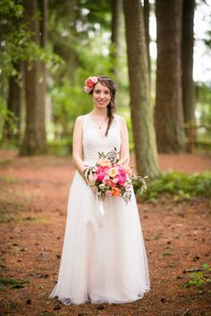 Pink and blush forest wedding, flowers by Country Bouquets Floral