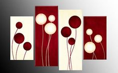 """LARGE DARK RED AND CREAM ABSTRACT CIRCLES CANVAS PICTURES SPLIT MULTI PANELS 40"""""""