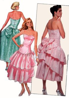 Uncut Vintage Misses Calf Tea Length Boned Bodice Flared Back Bow Tiers Formal Gown Dress Size 6 8 10 Sewing Pattern Butterick 4739 Ruffle Skirt, Dress Skirt, Gown Dress, Vintage Dress Patterns, Vintage Dresses, Drop Waist, Formal Gowns, 1980s, Bodice