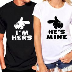 """Disney Inspired Funny Matching Couples Shirts """"I'm Hers, He's Mine"""" Graphic Tee for Him Her Cute Couple Shirts, Couple Tees, Matching Couple Shirts, Matching Couples, Matching Outfits, Shirts For Couples, Cartoon T Shirts, Funny Shirts, Tee Shirts"""