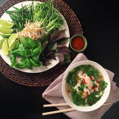 Fast faux Pho Ga for Pho'ur... Too much?   Chicken soup with vermicelli, scallions, cilantro and topped with choice of basil, mint, sprouts, pea shoots, chillies, limes and hot sauce. @zimmysnook Limes, Chicken Soup, Pho, Hot Sauce, Cilantro, Sprouts, Basil, Chili, Curry