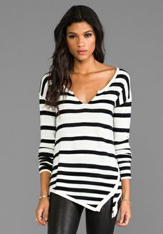 Love this sweater - love the asymmetric hem and the V neck - cute!!