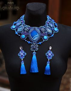 """Купить Резерв комплект """"Blue Moon"""" - синий, синий королевский, ярко-синий, массивное украшение"""