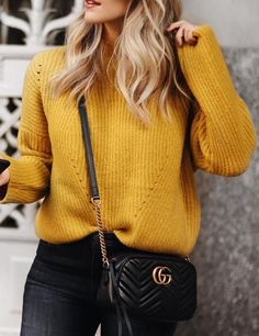 #winter #fashion /  Mustard Knit + Black Skinny Jeans + Black Leather Shoulder Bag
