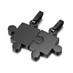 His and Hers Black Stainless Steel Matching Love Puzzle Piece Pendant Necklaces #UnbrandedGeneric #Pendant