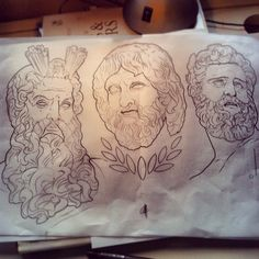 Zeus, Hades and Poisedon giving Shoreditch beards a run for their money ⚡️ starting another Greek Gods sleeve @Good Times today #notoriousthugs #greekgods #zeus #hades #poisedon #blackandgreytattoo #tattoosketch #tattoosleeve #godtattoo #Padgram