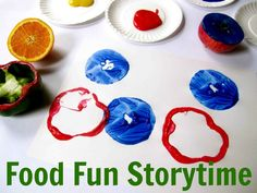 Incorporating art education into library storytime with Pages to Projects: Food and Art. Fun with food stamping! Preschool Literacy, Toddler Preschool, Toddler Crafts, Vegetable Crafts, Abc Crafts, Food Carving, Boys And Girls Club, Craft Activities, Activity Ideas