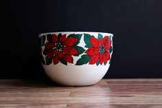 Kaj Franck Poinsettia Bowl / Vintage Enamelware by ChapsAndRascal, $110.00