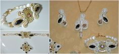 Gold set jewelry , handmade jewelry,soutache jewelry by HalaCreations on Etsy