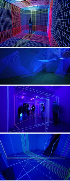 Jeongmoon Choi uses thread and UV light to create laser looking 3D spaces.