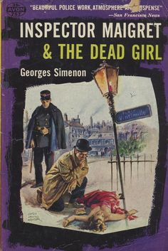 """Inspector Maigret & The Dead Girl"" by Georges Simenon. Pulp mystery novel with purple cover."