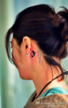 Small Koi Fish Tattoo Behind Ear