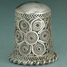 sterling thimbles | Vintage Sterling Silver Hand Made Filigree Thimble Mid 20th Century ...