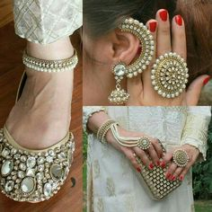 35 Super Ideas for bridal jewelry ideas pearl sterling silver Real Gold Jewelry, Hand Jewelry, India Jewelry, Ethnic Jewelry, Jewelry Sets, Gold Jewellery, Jewelry Making, Indian Accessories, Wedding Accessories