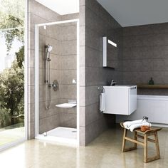Sprchové dveře Pivot jednokřídlé 100 cm, čiré sklo Kuta, Shower Enclosure, Shower Doors, Toilet, Bathtub, House Design, Architecture, Storage, Hungary