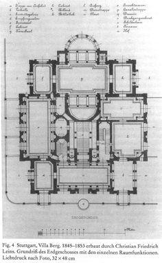 Christian Friedrich von Leins, Villaberg, ground plan of the ground floor, 1870.  (1285×2087)