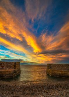 Sunset at Buckpool Harbour on the Moray Coast, Scotland.