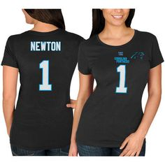 Majestic Cam Newton Carolina Panthers Women s Black Fair Catch V Name   Number  T-Shirt is available now at FansEdge. bf20c76ad